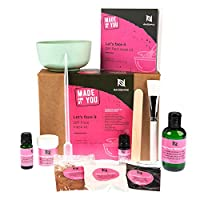 Naissance Clay Face Mask Kit - Make Your Own Activated Black Charcoal, Grapefruit & Chocolate Masks, Applicator Brush & Mixing Bowl Included, Reduces Pores, Oily Skin & Blackheads, Cleanse & detox