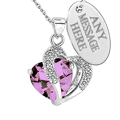 Personalised Engraved Birthstone Necklace Jewellery Love Heart Pendant With Swarovski Crystal