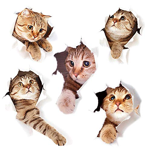 3D Katzen Wandtattoo Kombination WC-Aufkleber Wandsticker Wandaufkleber Wasserdichte Kühlschrankaufkleber Türaufkleber Küche Wand Dekor
