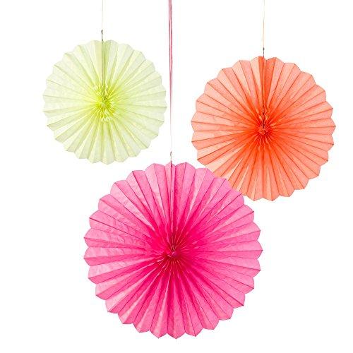 Talking Tables Decadent Decorations; Fluoreszierende Papierhängekugeln für Geburtstage und Partys, Verschiedene Größen, Bunt (3 pro Pack)