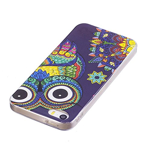 Cover iphone 5 Custodia iphone 5s / se Silicone Anfire Morbido Flessibile Gel TPU Case per apple iphone 5/5s/se (4.0 pollici) Ultra Sottile Fluorescente Shell Antiurto Luminosa al Buio Copertura LED L Gufo