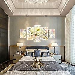 Celi Canvas prints Cuadro sobre Lienzo 5 Piezas Paisaje De Margarita Blanca 150X80Cm Impresiones Modernas En Lienzo Imagen Abstracta para El Dormitorio Oficina Hogar