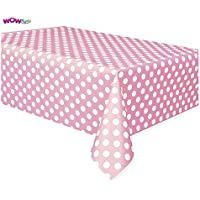 Wow Plastic Baby Pink Polka Dot Tablecloth, 9ft x 4.5ft