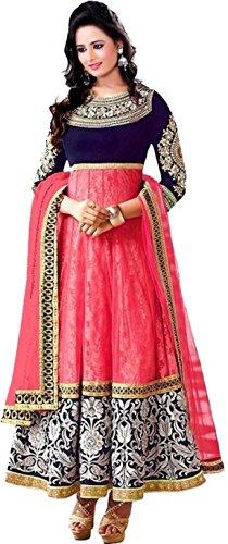 Foxstar Fashion Women\'s Pink velvet Silk Embroidered Long Gown (Pink_velvet_SIlk_Gown)