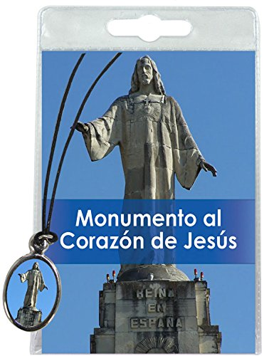 Medalla Monumento al Sagrado Corazón de Jesús (Madrid) con cordón y oración en español