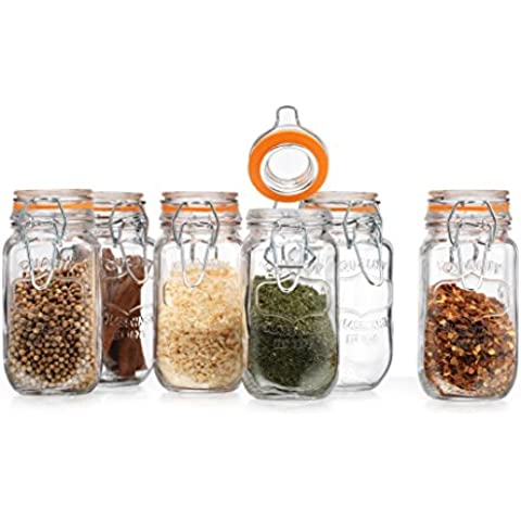 Elegant Home High Quality Airtight Glass Spice Jar Hermetic Seal Bail & Trigger /Jar with Lid ? Use As Spice Canister ? / Set of 6 (Clear) by HC