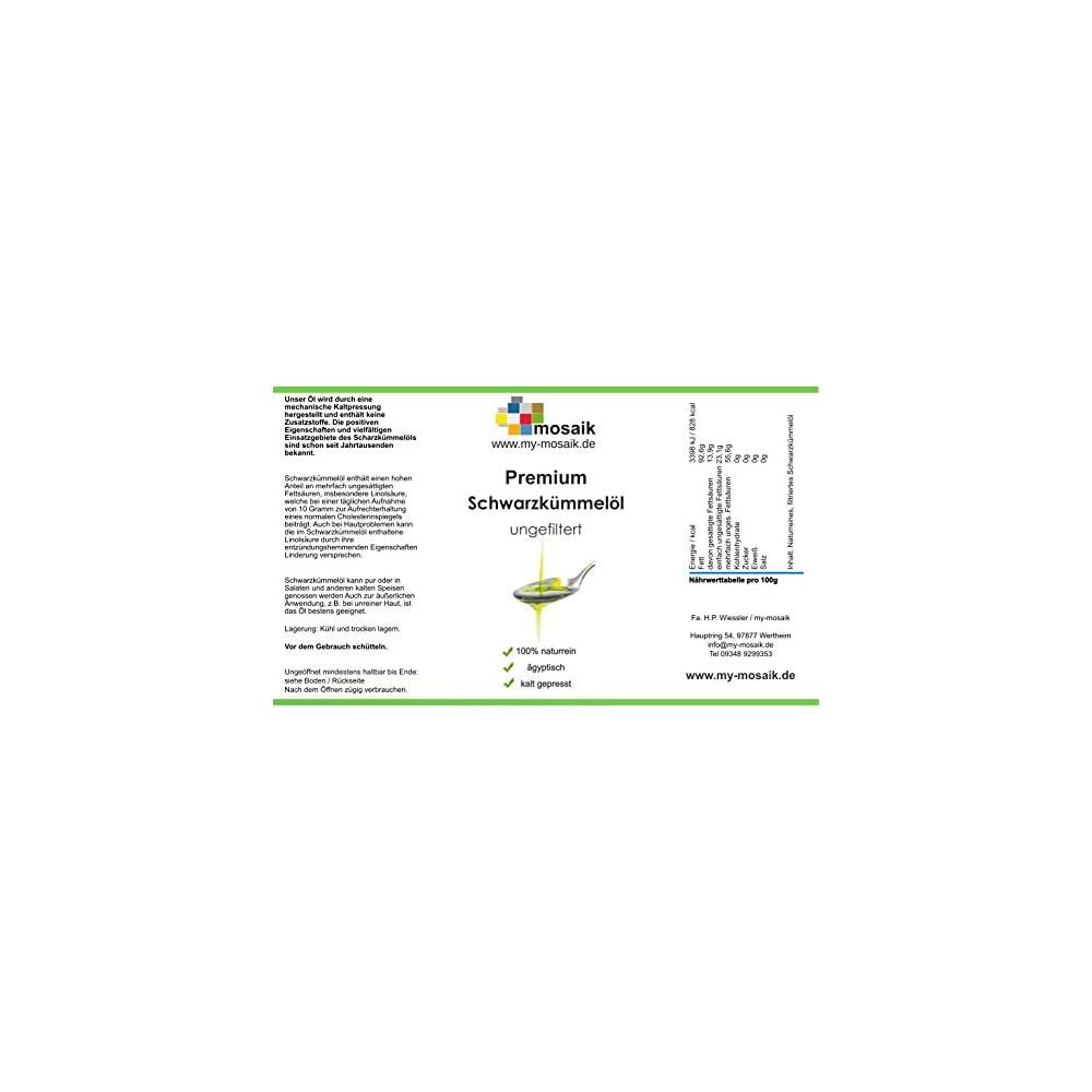 My Mosaik Schwarzkmmell 100 Naturrein Kaltgepresst Ungefiltert Gyptisch Reich An Mehrfach Ungesttigten Fettsuren Fr Die Gesunde Kche Oder Zur Hautpflege Einsetzbar