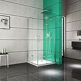 Duschkabine - Duschwand | Duschabtrennung aus ESG Sicherheitsglas 8mm · Eckeinstieg 2-Türig faltbar · Duschkabine 100x100 · Höhe: 195 cm | Burgtal 18158