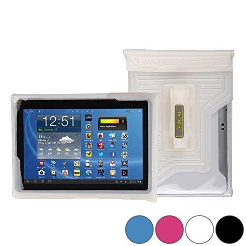 DiCAPac WP-T20 Universelle, wasserdichte Hülle für HP 10 Plus / Omni 10 / Touchpad Tablets in Weiß (Doppel-Klettverschluss, IPX8-Zertifizierung zum Schutz vor Wasser bis 5m Tiefe; integriertes Luftkissen treibt auf dem Wasser & schützt das Gerät; extraklare Polycarbonat-Fotolinse; integrierte Handschlaufe)