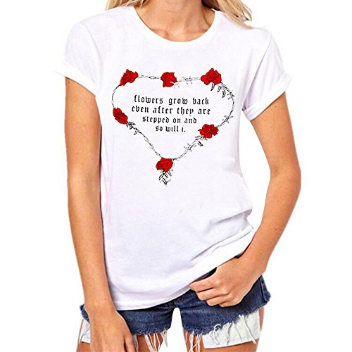 und Herren Outfits Valentine Es Day Paar Outfit Rose Brief Drucken Kurzarm T-Shirt Komfortable Freizeit Bluse Tops (Damen, 3XL) (Valentine Paar Outfits)
