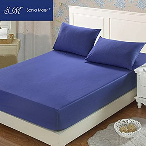 Premium Polycotton 200 Thread Count Fitted Sheet by Sonia Moer, (Single, Navy)