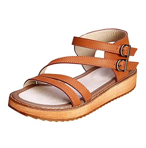 Yiiquan Damen Hohe Plattformen Casual Mode Sandalen Schnalle Dicker Boden Sommerschuhe (Braun, 39.5 EU) -