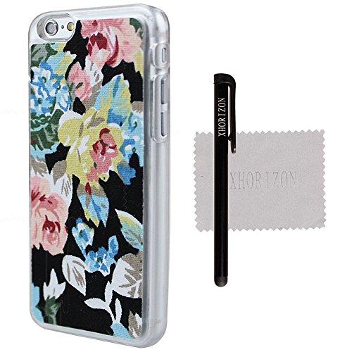 """xhorizon TM Noël FLK 2 Pcs floral élégant Porte-monnaie de carte stand Case & Hard Cover affaire étui coque housse portefeuille support protection Armour pour 4.7"""" iPhone 6 Noir"""
