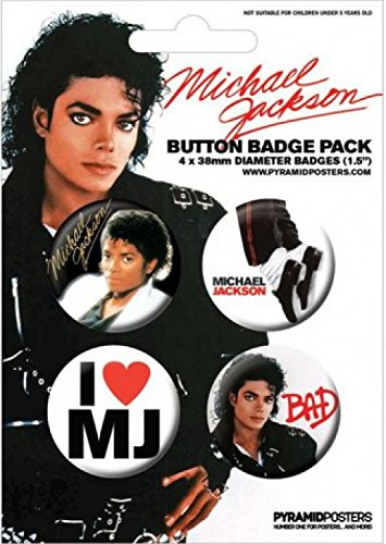 Click for larger image of Michael Jackson Badge Pack - Bad, 4 X 38mm Badges (6 x 4 inches)