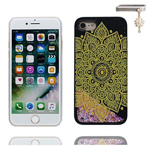 """Coque iPhone 6, [Bling Bling Glitter Fluide Liquide Sparkles Sables] iPhone 6s étui Cover (4.7 pouces), iPhone 6 Case (4.7""""), anti- chocs & Bouchon anti-poussière- Totem de fleurs florales Noir 3"""