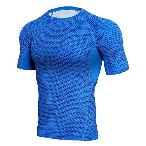 LOPILY Herren Fitness Sport T-Shirt Mode Männer Kurzarm Sport Gym Jogging Yoga Tee Shirt Casual Schlank Kurzarmshirt Top Bluse Muskel Gym Fitness Training T-Shirt Tops(Blau,L)