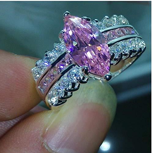 assische Marquise Cut rosa Saphir Cz Diamonique 925 Silber Ehering (8) ()