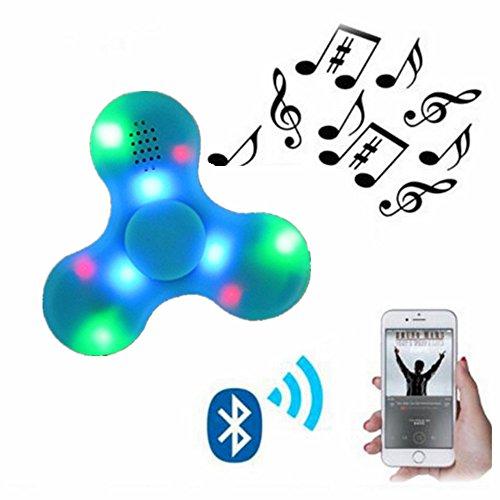 Preisvergleich Produktbild Nibesser Fidget Spinner LED Light Fidget Toys Bluetooth Lautsprecher Finger Spielzeug für Kinder und Erwachsene 1 Stück (Blau)
