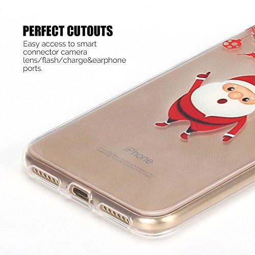Cover iphone X Custodia iphone X Silicone Natale Anfire Morbido Flessibile TPU Gel Case Cover per Apple iphone X (5.8 Pollici) Ultra Sottile Clear Trasparente Copertura Antiurto Protettivo Bumper Skin Babbo Natale