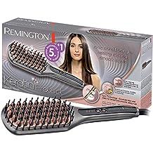 Remington CB7480 Keratin Protect Straight - Cepillo alisador con cerdas de cerámica avanzada con queratina y