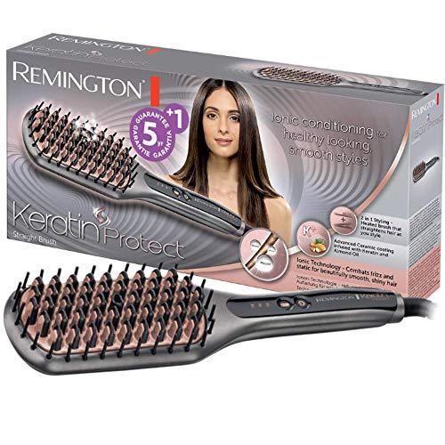 Remington Keratin Protect Straight CB7480 - Cepillo alisador, Cerdas de Cerámica, Keratina y Aceite de Almendras, Gris y Rosa