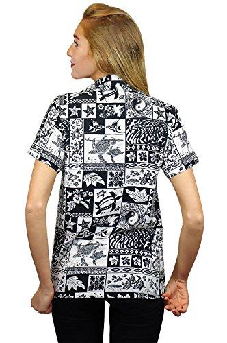 King Kameha | Funky Chemisier Hawaïenne | Femmes | XS - 6XL | Manche-Courte | Poche-Avant | Hawaiian-Imprimer | Puzzle | Noir Noir
