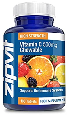 Vitamin C 500mg Chewable, 180 Tablets by Zipvit | Supports Immune System, Bone Health & Skin | Reduces Tiredness and Fatigue | 6 MONTHS SUPPLY by Zipvit