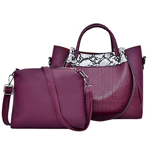 Artistic9 Handbag Damen Handtasche Set Leder Hobo Bag Croc Strukturierte Hobo Bag mit großer Kapazität Snack und Kleiner Umhängetasche Reißverschluss -