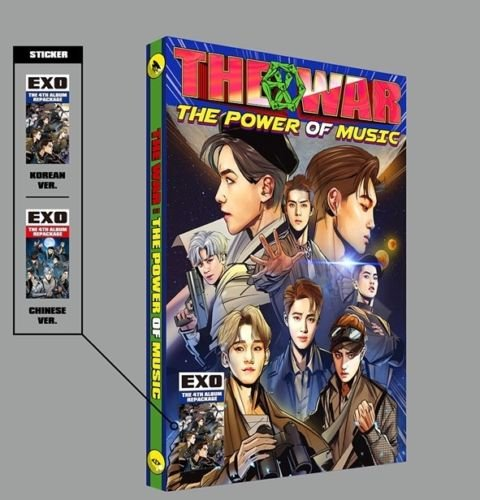 EXO - [The War:The Power Of Music] 4th Repackage Korean VER CD+Graphic novel comics+Character cards+Double cards+Group card+Manual+Random card+Poster+extra Photocards Set K-POP Sealed -