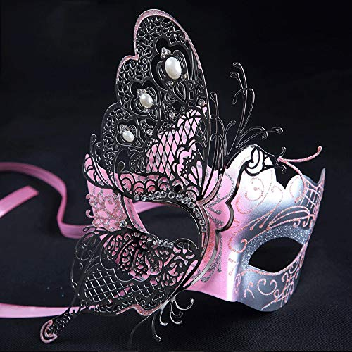 Nanle Mysteriöse venezianische Schmetterlings-glänzende Schmetterlings-Dame Masquerade Halloween Mardi Gras Party-Maske (Farbe : Pink)