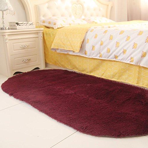 Sundian Oval massives Bett Schlafzimmer Schlafzimmer Flur Teppich im Wohnzimmer Teppich Teppich, 140 * 200cm, Bordeaux