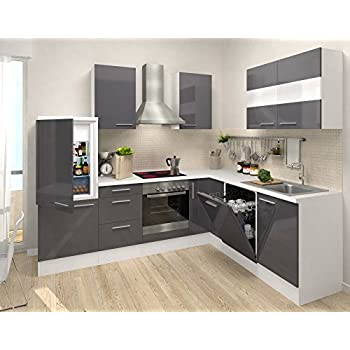 Respekta premium l form winkel küche küchenzeile weiss grau 260x200cm ceran umluft