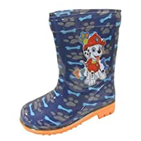 Boys Paw Patrol Chase & Marshall Blue Wellington Boots Kids Snow Wellies Mid Calf Boots (7 UK Child)