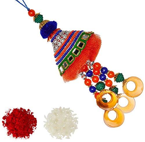 Aheli Orange & Blue Beads Lumba Rakhi with Roli Chawal Tilak For Women (Silver) (RL23462)