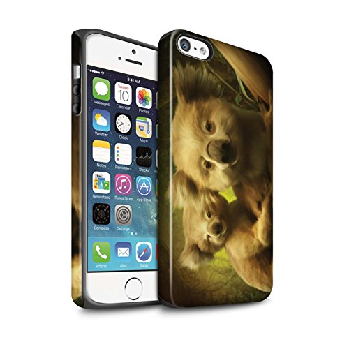 Officiel Elena Dudina Coque / Matte Robuste Antichoc Etui pour Apple iPhone SE / Le Brave/Chaton Design / Les Animaux Collection Koalas/Escalade d'Arbres