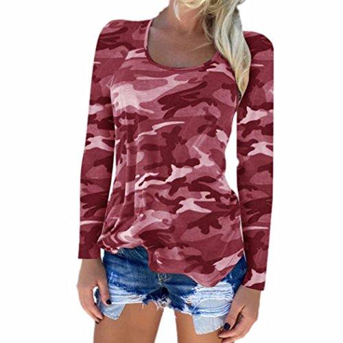 Longra Langarmshirt Damen Mode Bluse Casual T Shirt Hemd Damen Camouflage Langarm Sweatshirt Pullover Lose Tops Oberteil (S, Red)