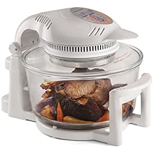 Andrew James Halogen Oven with Hinged Lid and Accessories Pack - 1400W 12L Self-Cleaning Mini Digital Oven with 2 Hour Timer & Adjustable Temperature Dial - Can Also Be Used As Food Dehydrator