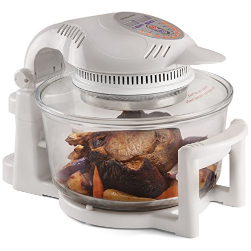 An image of the Andrew James Halogen Oven 12 Litre with Hinged Lid & 9 Accessories | Self-Cleaning Digital Oven with 2 Hour Timer & Adjustable Temperature Dial | 1400W