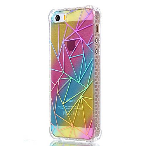Pour iPhone 5 5S 5G / iPhone SE Case Cover, Ecoway TPU Soft Motif de placage en couleur personalized pattern Housse en silicone Housse de protection Housse pour téléphone portable pour iPhone 5 5S 5G  triangle