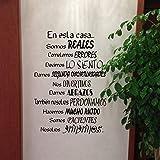 WWYJN Spanish Wall Decal Stickers- En Esta Casa Home Decoration Wall Art Stickers Gray 56x39 cm