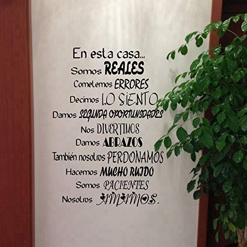 WWYJN Spanish Wall Decal Stickers- En Esta Casa Home Decoration Wall Art Stickers Black 90x62 cm