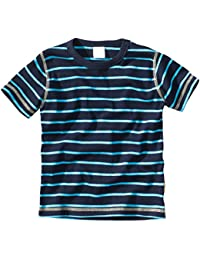 wellyou, Kinder Kurzarm T-Shirt, dunkel-blau türkis, geringelt, für Jungen, 100% Baumwolle