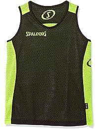 Spalding Essential Reversible Camiseta Hombre, Multicolor (Schwarz/Neon Gelb) 164