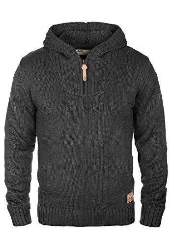 !Solid Penn Herren Winter Pullover Strickpullover Kapuzenpullover Grobstrick Pullover mit Kapuze und Reißverschluss Am Kragen, Größe:L, Farbe:Dark Grey Melange (8288) Penn-fleece-pullover