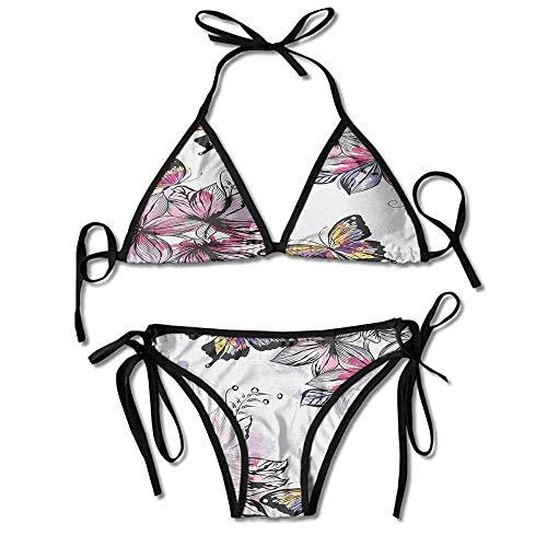 Soft Bikini Swimsuits,with Colorful Butterflies Paintbrush Sexy Bikini 2 Pieces Butterfly Thong Sandal