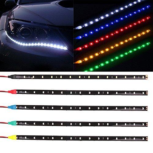 Preisvergleich Produktbild Wasserdichte Auto-Auto-dekorative flexible LED-Leiste Highpower 12V 30cm 15SMD ROTES Auto LED-Tagfahrlicht-Auto-LED-Streifen-Licht DRL
