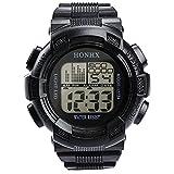 WMWMY Herren Sport Uhr Wasserdicht Leben Double Impact Hintergrundbeleuchtung LED Digital Armbanduhr Chronograph Geschenk, Schwarz