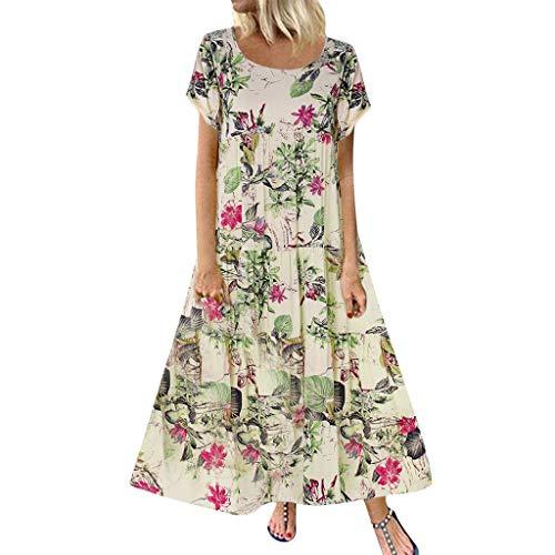 Darringls Vestiti Donna Estate Abito da Sera Lungo Donna Manica Corta Lunga Vestito 2019 Elegante Vestiti Casual Moda T-Shirt Lunga Manica Corta Vestiti Camicia Donna Mini Abito