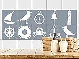 GRAZDesign 770394_10x10_FS30st Fliesenaufkleber Anker maritim | Fliesenbilder für Bad | Anthrazit - Weiß | Fliesen zum Aufkleben Bad | Selbstklebende Fliesen-Folie | verschiedene Motive (10x10cm // Set 30 Stück)