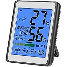 CHOELF Termómetro Higrometro Digital Interior para Medir Temperatura y Humedad con Retroiluminación, Registros Máxima y